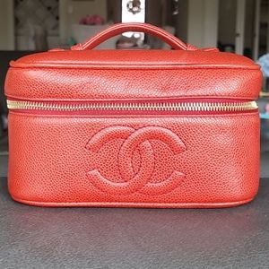 Chanel Vintage Vanity Case Red Caviar